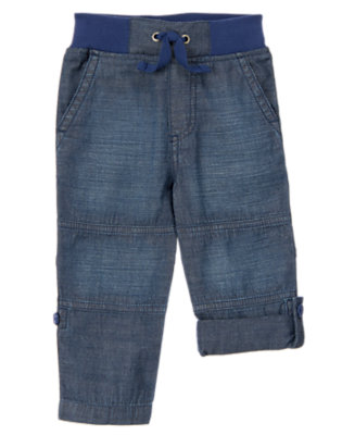 Toddler Boys Chambray Chambray Roll-up Pants by Gymboree