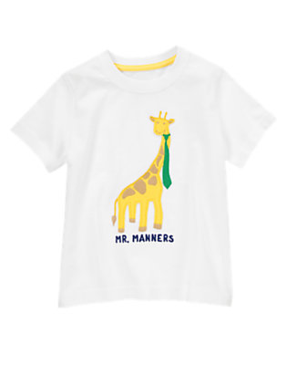 Toddler Boys White Mr. Manners Tee by Gymboree