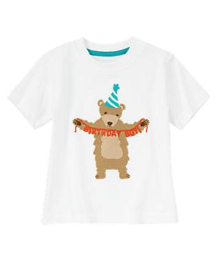 Toddler Boys White Frosting Birthday Bear Tee by Gymboree