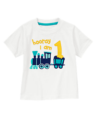 Toddler Boys White Frosting Hooray I Am 1 Tee by Gymboree