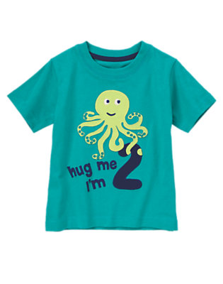 Toddler Boys Party Turquoise Hug Me I'm 2 Tee by Gymboree