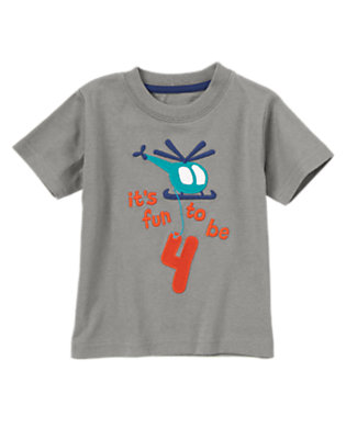 Toddler Boys Grey Gift It's Fun to be 4 Tee by Gymboree