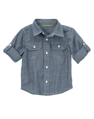 Toddler Boys Chambray Roll Sleeve Chambray Shirt by Gymboree