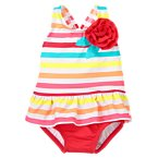 Rosette Stripe One-Piece Swimsuit