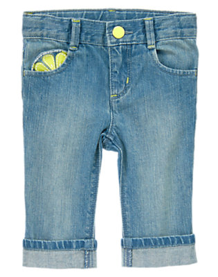 Toddler Girls Denim Lemon Pocket Jean by Gymboree