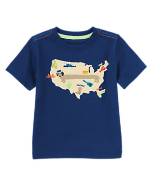 Gym Navy Long Dog Map Tee by Gymboree
