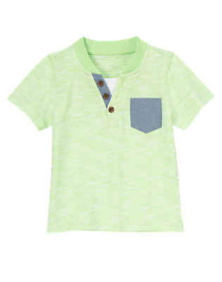 Spring Green Heather Chambray Trim Henley Tee by Gymboree