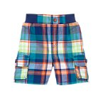 Pull-on Plaid Cargo Shorts