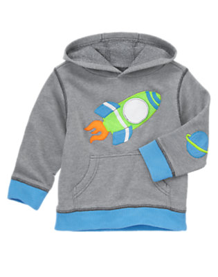 Toddler Boys Meteor Grey Rocket Terry Hoodie by Gymboree