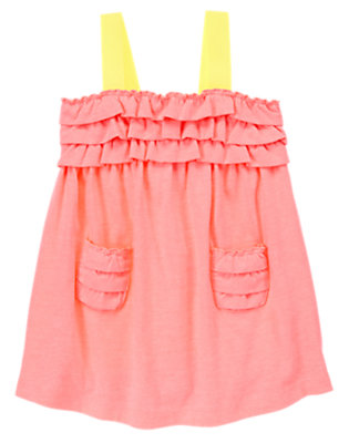 Toddler Girls Neon Melon Ribbon Strap Dress by Gymboree