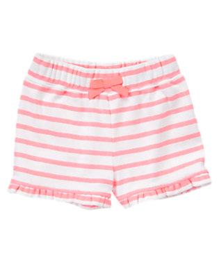 Toddler Girls Neon Melon Stripe Ruffle Bow Short by Gymboree