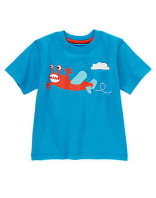 Toddler Boys Bright Turquoise Monster Plane Tee by Gymboree