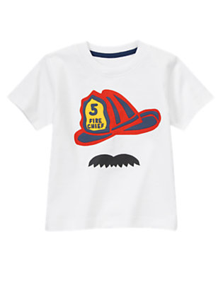 Toddler Boys White Fire Chief Tee by Gymboree
