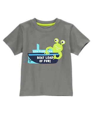 Toddler Boys Stone Grey Alien Boat Tee by Gymboree