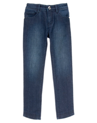 Dark Denim Blossoms & Gems Cropped Jeans by Gymboree