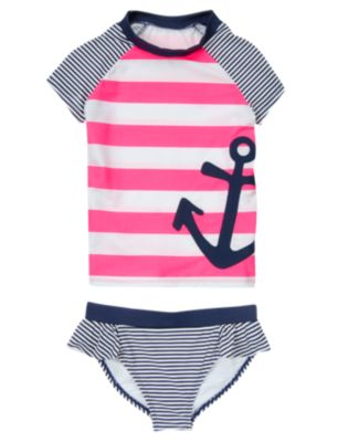 Anchor Striped Rash Guard Set