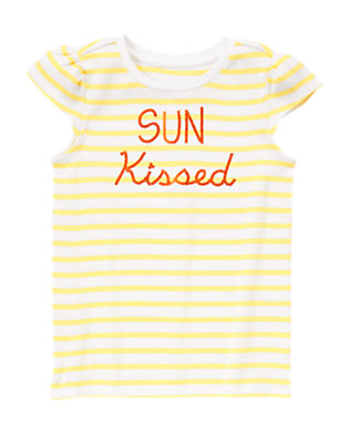 Girls Sunny Lemon Stripe Sun Kissed Tee by Gymboree