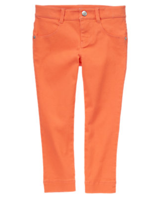 Girls Sweet Tangerine Ribbon Bow Twill Pant by Gymboree