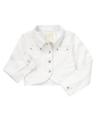 Girls White Denim Style Jacket by Gymboree