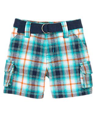 Baby Aqua Blue Plaid Belted Plaid Cargo Shorts by Gymboree