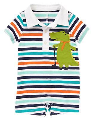 Baby Light Aqua Stripe Alligator Striped Polo One-Piece by Gymboree