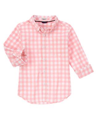 Pink Check Spring Check Shirt by Gymboree