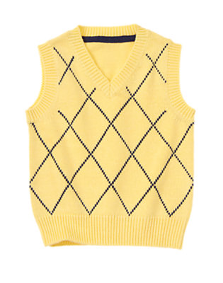Yellow Daffodil Windowpane Plaid Sweater Vest by Gymboree