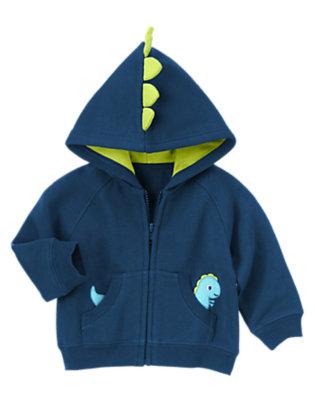 Baby Navy Blue Zip-Up Fleece Lined Cardigan by Gymboree