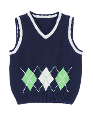 Gym Navy Argyle Sweater Vest by Gymboree