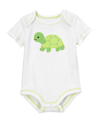 Baby White Turtle Baby Bodysuit by Gymboree