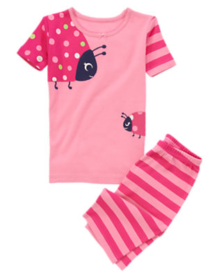 Cheery Pink Dot Ladybug Shortie Two-Piece Gymmies® by Gymboree