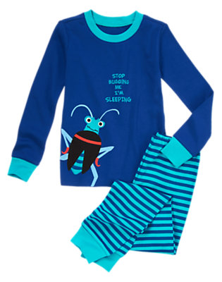Boys Beetle Blue Stop Bugging Me Two-Piece Gymmies® by Gymboree