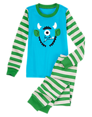 Turquoise Blue Troll Striped Two-Piece Gymmies® by Gymboree