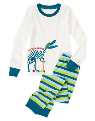 Boys White Scoot-a-saurus Two-Piece Gymmies® by Gymboree