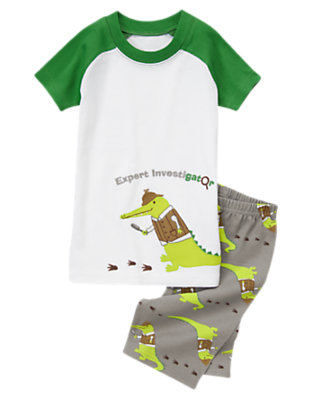 Boys White Investigator Shortie Two-Piece Gymmies® by Gymboree