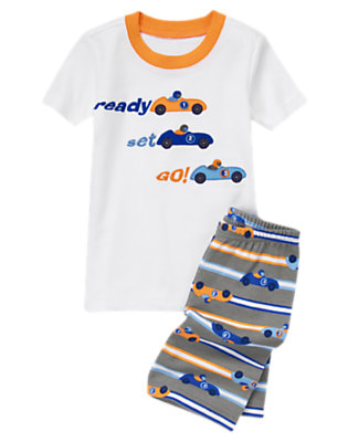 Boys White Race Car Shortie Two-Piece Gymmies® by Gymboree