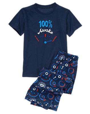 Boys Dark Navy 100% Awake Two-Piece Pajama Set by Gymboree