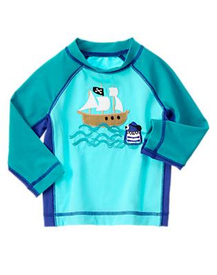 Toddler Boys Aqua Blue Pirate Shark Rash Guard by Gymboree
