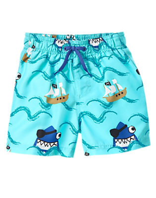 Toddler Boys Aqua Blue Pirate Shark Board Short by Gymboree