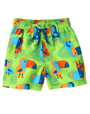 Toddler Boys Lime Lagoon Toucan Board Short by Gymboree