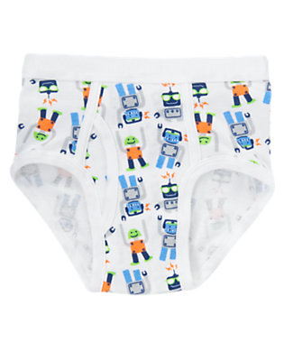 Toddler Boys White Robot Brief by Gymboree