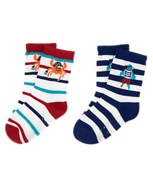Toddler Boys Nautical Stripe Pirate Socks Two-Pack by Gymboree