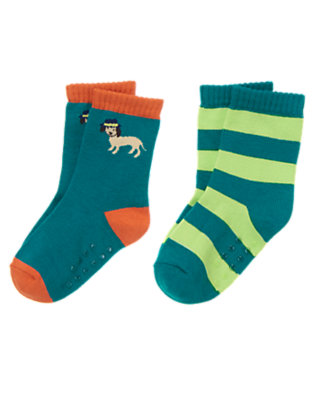 Toddler Boys The Real Teal Dog & Stripe Sock Two-Pack by Gymboree
