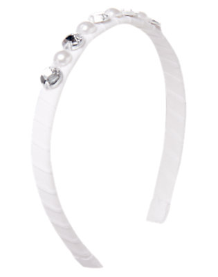 Girls White Pearl and Gem Headband by Gymboree