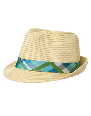 Toddler Boys Natural Straw Plaid Fedora by Gymboree