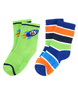 Toddler Boys Gravity Green Monkey and Stripe Sock Two-Pack by Gymboree