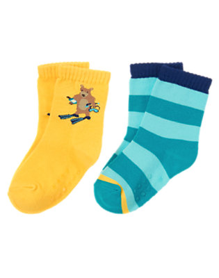 Toddler Boys Sunny Yellow Bear Stripe Sock Two-Pack by Gymboree