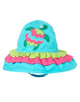 Toddler Girls Aqua Blue Turtle Ruffle Hat by Gymboree