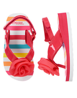 Toddler Girls Fucshia Stripe Rosette Flip Flop by Gymboree