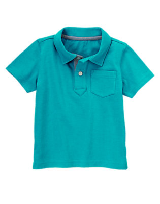Toddler Boys Ocean Teal Solid Polo by Gymboree